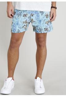 Short Masculino Estampado Floral Com Bolsos Azul Claro