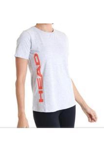 Camiseta Básica Feminina - Head - Logo Lateral - Feminino-Cinza Claro