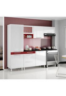 Cozinha Compacta Quadri 7 Pt Branco E Vermelho
