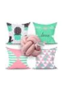 Kit Capa Almofada Para Quarto Decorativa Rosê E Verde 4 Unidades + Almofada Nó Escandinavo