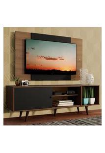 Rack Madesa Dubai Com Pés E Painel Para Tv Até 58 Polegadas - Rustic/Preto 7Kc1 Marrom