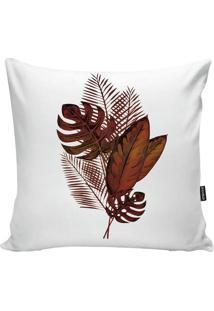 Capa De Almofada Red Foliage- Branca & Laranja Escuro