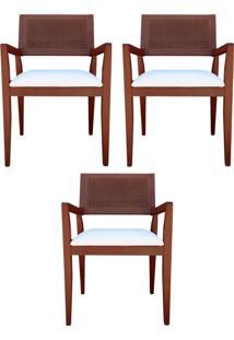Kit 3 Cadeiras Decorativas Sala De Jantar Megan Imbuia Linho Bege - Gran Belo