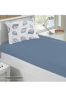Jogo De Cama Em Malha Basic Cipestre Solteiro- Azul & Brbuettner