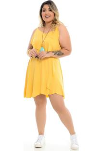 Roupas Plus Size Domenica Solazzo Vestidos Curtos Amarelo - Tricae