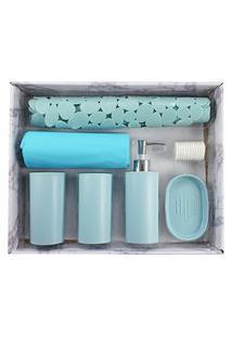 Kit De Banheiro Completo Jacki Design 6 Peças Azul Cozy