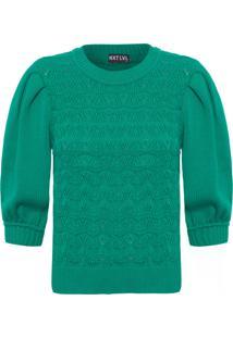 Blusa Feminina Tricot Leque - Verde