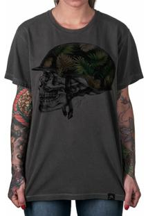 Camiseta Artseries Caveira Capacete Militar Feminina - Feminino-Grafite