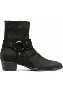 Matt Moro Leather Harness Ankle Boots - Preto