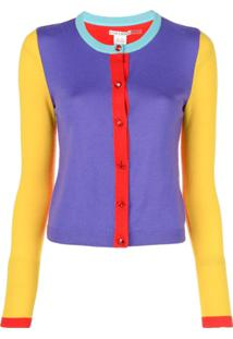 Alice+Olivia Cardigan Ruthy Color Block - Azul