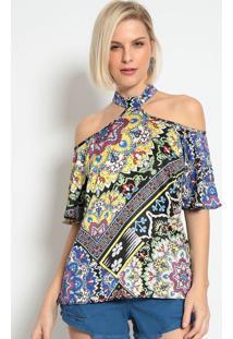Blusa Arabescos Com Recortes- Azul & Verde- Miss Belmiss Bella