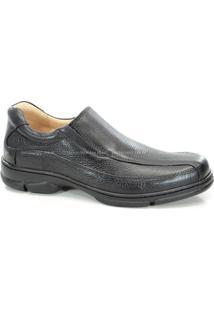 Sapato Confort Couro Masculino Anatomic Gel - 7810 - Preto