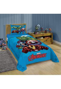 Jogo De Cama Infantil Lepper Avengers 150X210Cm 3 Peças Azul