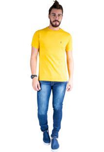 Camiseta Mister Fish Gola Careca Basic Top Hat Plus Size Mostarda