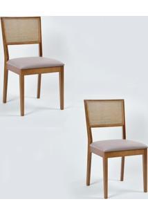 Kit 2 Cadeiras Iris Encosto Em Tela E Assento Estofado Castanho/Cinza