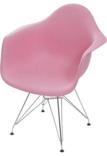 Cadeira Eames Com Braco Base Cromada Rosa - 59138 - Sun House
