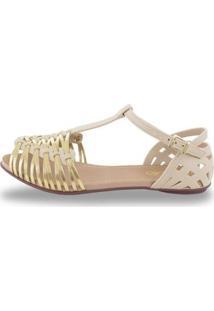 Sandália Sedução Feminina - Feminino-Bege+Dourado
