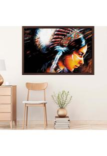 Quadro Love Decor Com Moldura India Madeira Escura Grande