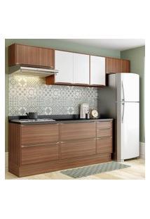 Cozinha Modulada Multimóveis 5456R Calábria 8 Peças Nogueira/Branco