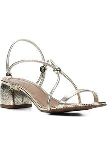 Sandália Shoestock Tiras Salto Bloco Médio - Feminino-Ouro