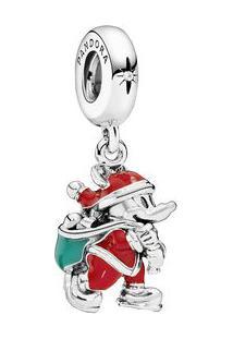 Charm Pendente Mickeyâ® Papai Noel- Prata & Vermelho-Pandora