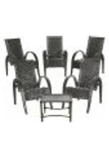 Conjunto 5 Cadeiras Napoli E Mesa De Centro Fibra Sintetica Tabaco