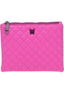 Necessaire Quadrada Matelassê Pink - Nécessaire Quadrada Matelasse Pink - U