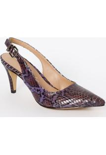 Sapato Chanel Em Couro Com Fivela & Ajuste - Roxo & Pretluiza Barcelos