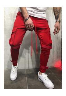 Calça Masculina Swag Bolsos Laterais - Vermelho