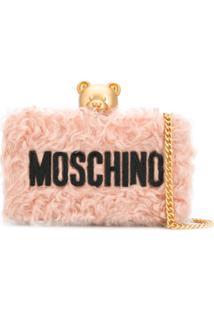 Moschino Clutch 'Toy Bear' De Couro - Rosa