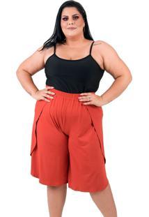 Shorts Bermuda Com Fenda Lateral Verão Plus Size Laranja