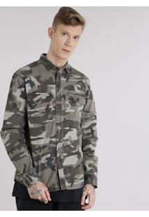 Camisa Masculina Estampada Camuflada Com Bolsos Manga Longa Verde Militar