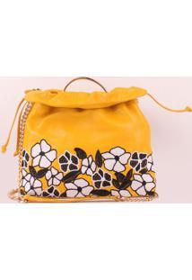 Bolsa Em Couro Floral- Amarela & Brancaluiza Barcelos