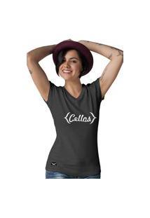 Camiseta Feminina Gola V Cellos Retro Premium W Preto