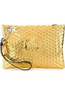 Moncler Clutch Com Logo Gravado - Dourado