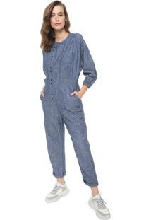 Macacão Jeans Utilitário Colcci Botões Azul
