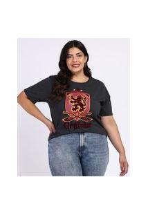Blusa Feminina Plus Size Harry Potter Manga Curta Chumbo
