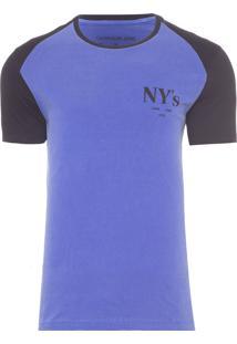 Camiseta Masculina Estampa Nys Peito - Azul