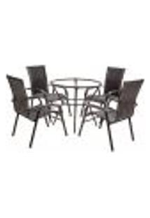 Conjunto 4 Cadeiras E Mesa Alta Sem Tampo Bela, Jardim, Fibra Sintetica Tabaco