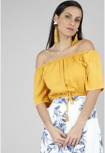Blusa Feminina Cropped Ombro A Ombro Com Tassel Amarela