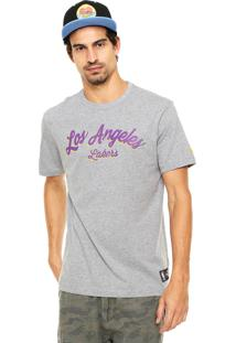 Camiseta New Era Written La Lakers Cinza