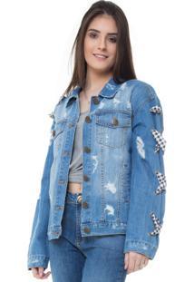 Jaqueta Rosa Line Jeans London Com Vichy
