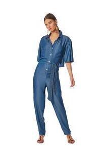 Macacão Maria.Valentina Reto Abertura Costas Jeans