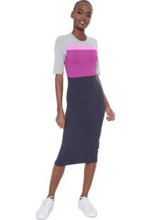 Vestido Colcci Midi Ajustado Colorblock Roxo/Rosa