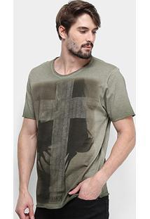 Camiseta Derek Ho Tinturada Lady Cross Masculina - Masculino-Verde+Chumbo