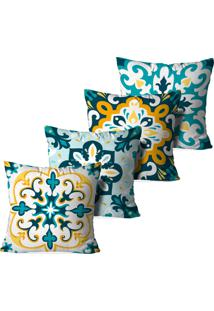 Kit 4 Capas Love Decor Para Almofadas Decorativas Mandalas Multicolorido Branco