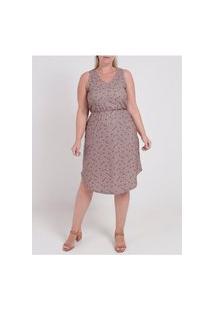 Vestido Plus Size Autentique Feminino Bege