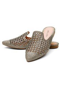 Sapatilha Mulle Bico Fino Sb Shoes Ref.10106L Dourado