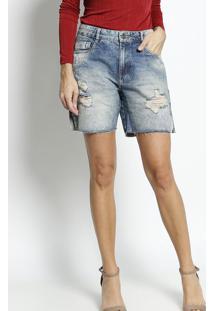 Bermuda Jeans Com Puídos- Azul Claro- Zincozinco