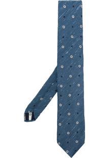 Lardini Gravata De Seda Floral - Azul